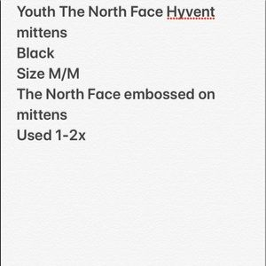 The North Face Accessories - The North Face YOUTH Hyvent mittens.